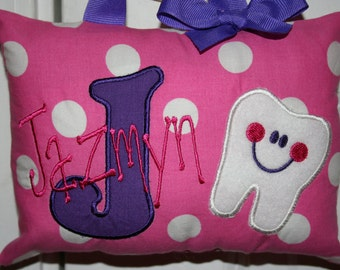 Girls Tooth Fairy Pillow Personalized Boutique Custom Made Polka Dots
