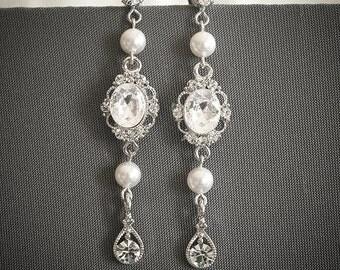 Swarovski Pearl Drop Wedding Earrings, Art Deco Wedding Earrings, Silver Filigree Crystal Chandelier Earrings, Long Dangle Earrings, PRESLEY