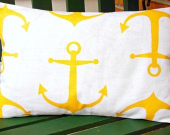 Yellow Nautical Throw Pillow COVER Decorative Cushion Cover Beach Decor Anchors Lumbar Pillow Coastal Couch Pillow Sofa Nursery ALL SIZES