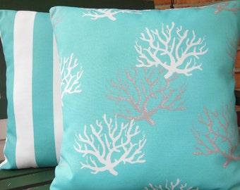 OUTDOOR Aqua Decorative Throw Pillows Nautical Aqua White Stripe Coral Cushion Covers Beach Decor Two Coastal Cushions Couch Pillows