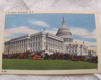 Vintage US Capitol Building Washington DC Linen Post Card Souvenir 1950s