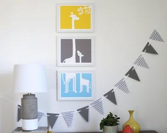 Giraffe Buddies Art Prints - set of 3