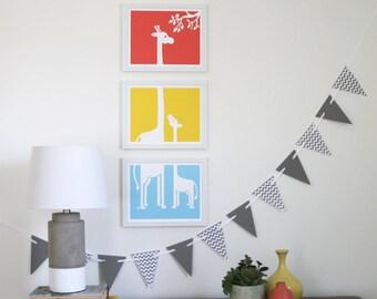 Giraffe Buddies Nursery Art Prints - set of 3