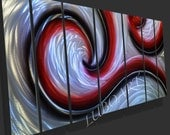 abstract grind painted METAL modern 3D wall decor contemporary sea wave Ocean Dance Original sculpture black red painting hand made by Lubo