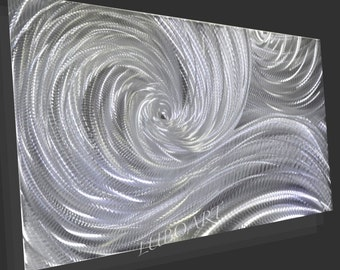 Metal Wall Art Sculpture SILVER Modern 3D Video LED Halogen light reflect colour no painting office home Decor hand made unique artist Lubo