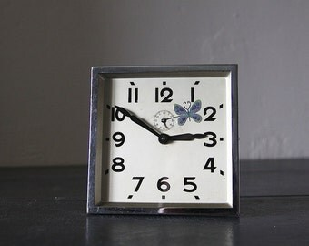 LARGE Striking French Vintage Clock Japy Square shape with Butterfly