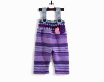 Knitted Toddler Girl Overalls Purple Violet, 2 - 3 years Woolly Warm Baby Clotting Toddler Pants Toddler Wool Longies Jumpsuit Warm Trousers