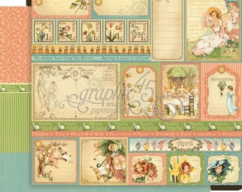 BOTH  April Pages - RETIRED Graphic 45 Place in Time  ** See Discounted Shipping Note**