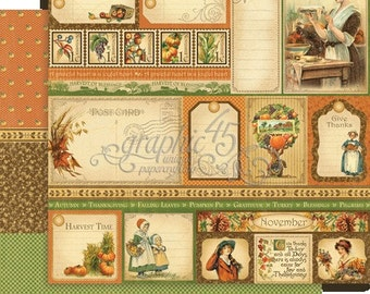 BOTH November Pages - RETIRED Graphic 45 Place in Time  ** See Discounted Shipping Note**