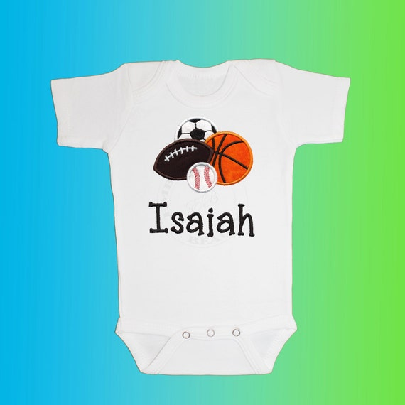 Bodysuit Baby Clothes - Personalized Applique - Sports Balls - Embroidered Short or Long Sleeved - Free Shipping