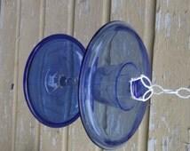 Birdfeeder Upcycle Recycle Salvage diy thrift flea repurpose cottage garden decor vintage recycle bird bath shabby chic suncatcher blue