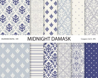 Navy blue Damask Paper, vintage navy blue damask digital paper, wedding papers, scrapbook paper, scrapbooking - 599