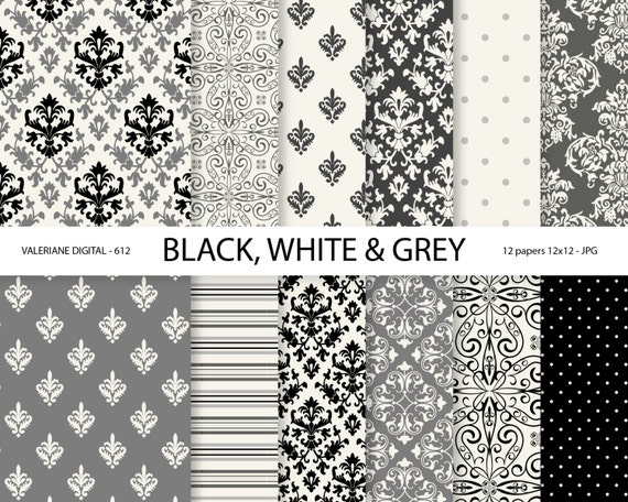 Black and White Damask Paper, damask digital paper, black ...