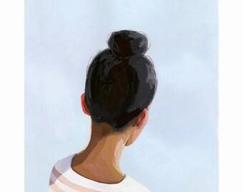 "5x7"" hair art - bun print - ""Top Knot 27"""