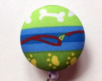 Paws Badge Reel - Pet Badge Holder - ID Name Badge - Dog Retractable Badge - Dog Leash - Nurse Gift - Fabric Badge Reel -Veterinarian Gift