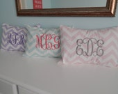 Monogrammed Chevron Pillow Cover - Vine Monogram - 14 colors to choose from