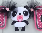 Panda baby shower banner, its a girl banner, hot pink, black and white