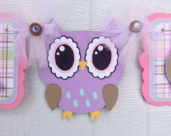 Owl baby shower, owl banner, owl decorations, purple owl banner, pink and purple decorations, it's a girl banner, girl baby shower,