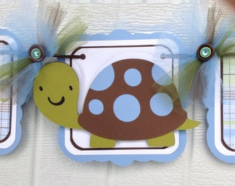 Turtle banner, turtle baby shower, turtle decorations, it's a boy banner, boy baby shower, brown and blue, turtle boy banner, photo prop