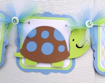 Turtle name banner, turtle baby shower, baby shower banner, baby shower decorations, turtle decorations, blue and green decor, name sign