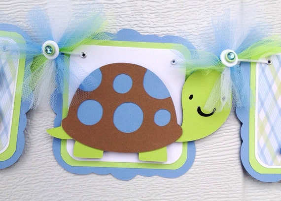 Turtle Name Banner Turtle Baby Shower Baby Shower Banner