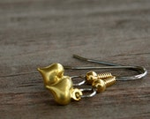 Surgical Stainless Steel Earrings, Tiny Gold Hearts on Steel Earwires
