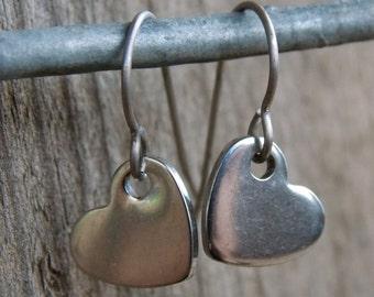 Titanium Earrings, Stainless Steel Heart on Titanium Ear Wires