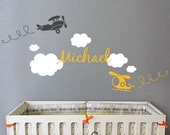 Airplane Cloud and Personalized Name - Nursery Wall Decal Sticker