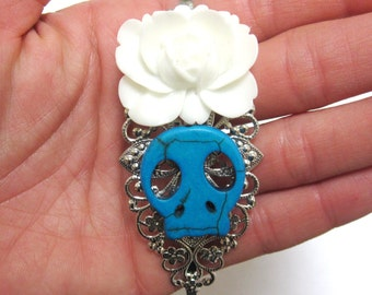 Sugar Skull Headband Blue White Rose Day Of The Dead Head Band