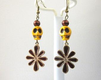 Day Of The Dead Earrings Sugar Skull Brown Yellow Enameled Flower