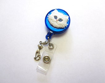 Cat Retractable ID Badge Reel White Kitty Name Tag Holder