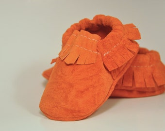 Eco Friendly Orange Suede Baby Moccasins