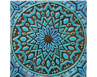 Moroccan wall hanging made from ceramic - exterior wall art - moroccan art - moroccan wall hanging - handmade tile - moroc2 - turquoise