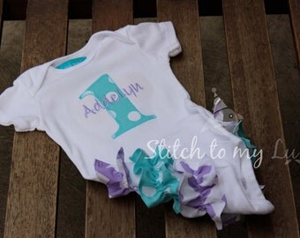 Purple and Aqua First Birthday Bodysuit Lavender Purple and Aqua Turquoise Ruffle Bum Chevron Polka Dots Baby Girl 1st Birthday Party