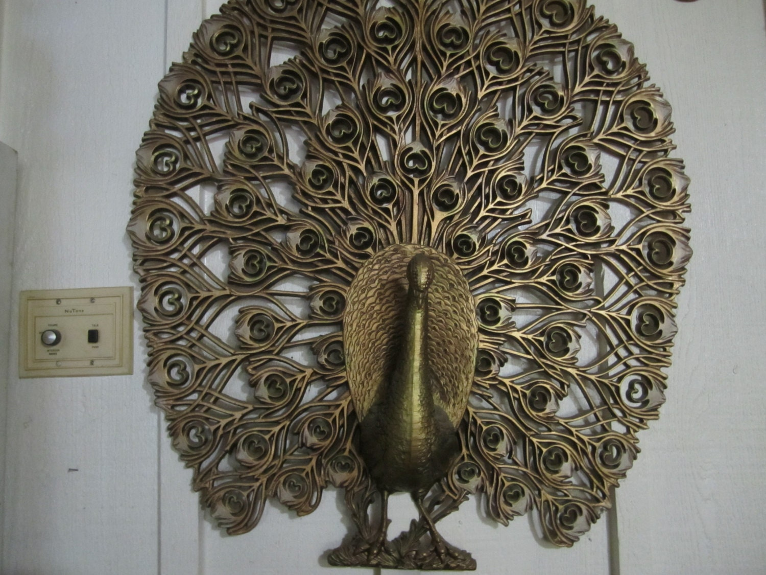 Large Vintage Wall Decor : Gold peacock vintage large wall art hanging by