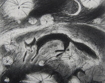 Flying dreams, etching by Flora McLachlan, fox, thistledown, moon, stars, night, hill, summer, sky