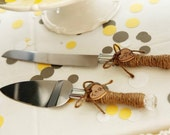 Rustic Country Farmhouse Chic Wedding Cake Server And Knife Set