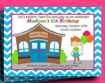 Children's Museum Invitation Printable or Printed with FREE SHIPPING - You Pick Hair Color/Style and Skin Tone