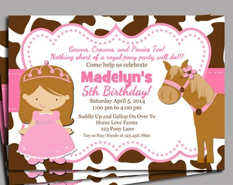 Princess Pony Invitation Printable or Printed with FREE SHIPPING- You Pick Hair Color/Skin Tone - Princess Pony Collection