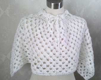 Snow White Capelet - Cape - Short Poncho - Silver Sequins - Adjustable Neckline - One Size Fits Adult Lady