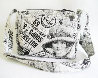 Shoulder Travel Bag, Women Crossbody Bag, Vintage Style Bag, Old newspaper Messenger Bag, Graduation Gift