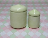 shabby chic dollhouse miniature ceramic canister set in celery tone