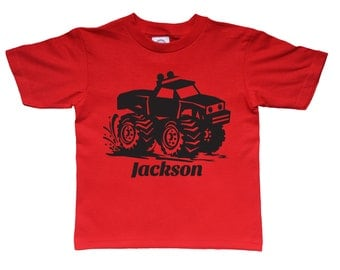 Monster Truck  Shirt Personalized Birthday Shirt - any name - pick your colors!