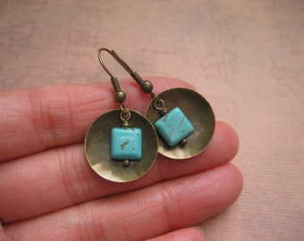 Turquoise Earrings - Turquoise Gemstone Domed Brass Disc Earrings - Gemstone Metalwork Earrings - Handmade Artisan Jewelry
