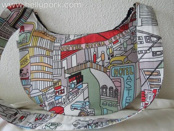 Fabric Tote Bag, canvas tote bag, comic bag, comic tote bag, crossbody bag, city print, canvas bag,canvas purse,comic purse,canvas crossbody