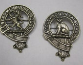 2 BRITISH Silvertone Buckle Pins 'Touch not the CAT' and 'Nemomeimpune Lacesset' Pins Brooches
