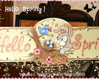 E PATTERN - Hello Spring - Sweet Bunny & Bird - Designed and Painted by Sharon Bond - FAAP