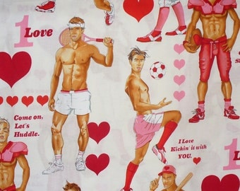 Valentine Hunks, Alexander Henry, Game of Love, Valentine Fabric, Natural BackgroundOversized Figures, By the Yard