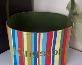 Fabric Easter Basket – Red Turquoise Green and Gold Stripes - Personalization Included - Great Storage Bin