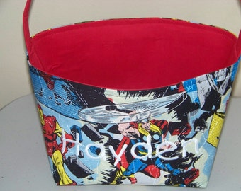 Fabric Easter Basket – Superhero Comics in Red, Blue Yellow and Black - Personalization Included - Great Storage Bin